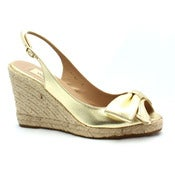 Image of Valentino Gold Leather Slingback Espadrille Wedge SZ 39 Worn Once