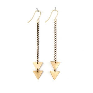 Image of Brass Arrow Triangle Earrings