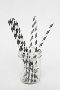 Image of Gray Striped Paper Straws