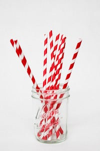 Image of Red and White Striped Paper Straws