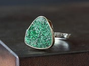 Image of Green Druzy Uvarovite Garnet Ring in 14kt gold + sterling silver