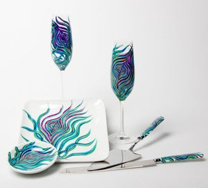 Image of Personalized Peacock Feather Wedding Toast and Cake Serving 6-Piece Customized Collection