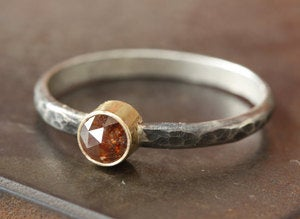Image of One of a Kind Red Rose Cut Diamond Stacking Ring- as seen in Wedding Nouveau Magazine