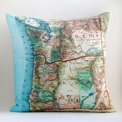 "Image of Vintage WASHINGTON-OREGON Map Pillow, Made to Order 18"" x18"" Cover"