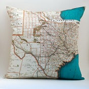 "Image of Vintage TEXAS Map Pillow, Made to Order 18"" x18"" Cover"