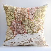 "Image of Vintage CONNECTICUT Map Pillow, Made to Order 18"" x18"" Cover"
