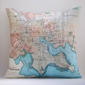 "Image of Vintage BALTIMORE, MD Map Pillow, Made to Order 18"" x18"" Cover"