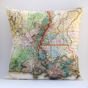 "Image of Vintage LOUISIANA Map Pillow, Made to Order 18"" x18"" Cover"
