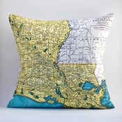 "Image of Vintage LOUISIANA #2 Map Pillow, Made to Order 18"" x18"" Cover"