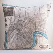 "Image of Vintage NEW ORLEANS, LA Map Pillow, Made to Order 18"" x18"" Cover"