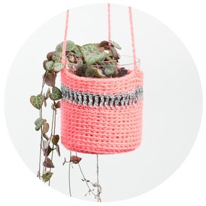 Image of Crochet Planter (pink with silver and pompom)