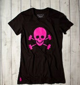 Skull &amp; Barbells Tee - Black/Pink