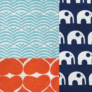 Image of Quilters Cotton Fat Quarter Set // Elephants Love Water