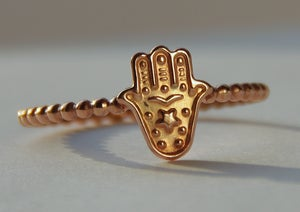 Image of ROSE gold filled Hamsa,  Hamsa Stackable Ring, Good luck ring, Judaica Jewelry