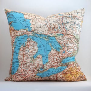"Image of Vintage MICHIGAN Map Pillow, Made to Order 18"" x18"" Cover"