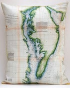 "Image of Vintage CHESAPEAKE BAY Map Pillow, Made to Order 16"" x20"" Cover"