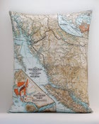 "Image of Vintage BRITISH COLUMBIA, CA Map Pillow, Made to Order 16""x20"" Cover"