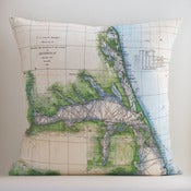 "Image of Vintage ALBEMARLE SOUND, NC Map Pillow, Made to Order 18""x18"" Cover"