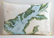 "Image of Vintage Upper Chesapeake Bay Map Pillow, Made to Order 15""x20"" Cover"