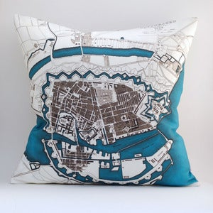 "Image of Vintage COPENHAGEN  Map Pillow, Made to Order 18""x18"" Cover"
