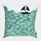 Image of Bigger Boat cushion in turquoise