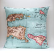 "Image of Vintage BALI Map Pillow, Made to Order 18"" x18"" Cover"