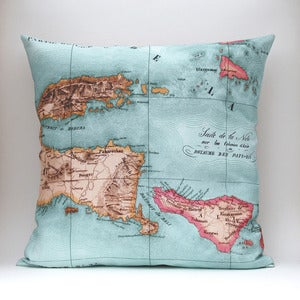 Image of Vintage BALI Map Pillow, Made to Order 18&quot; x18&quot; Cover