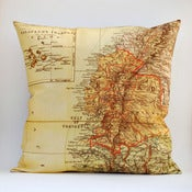 Image of Vintage ECUADOR GALAPAGOS Map Pillow, Made to Order 18&quot; x18&quot; Cover