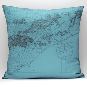 "Image of Vintage BRITISH VIRGIN ISLANDS Map Pillow, Made to Order 18"" x18"" Cover"