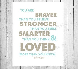 Image of You are Stronger than you A A Milne Childrens Babies Quote Poster Print