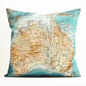 "Image of Vintage AUSTRALIA #2 18"" x18"" Map Pillow Cover"