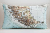 Image of Vintage TIERRA DEL FUEGO 12&quot; x 20&quot; Map Pillow Cover