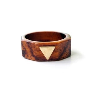 Image of Wood &amp; Brass Triangle Ring