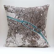 Image of Vintage PARIS 18&quot; x18&quot; Map Pillow Cover