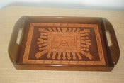 Image of Vintage Tray with Inlaid Leather Detailing