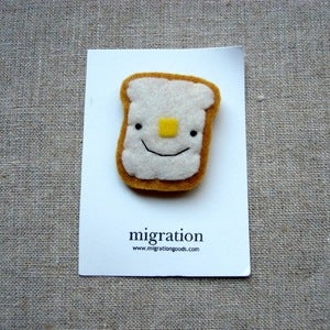 Image of buttered toast magnet // choose happy, sad or meh