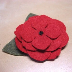 Image of small tea rose // soft red brooch with leaves