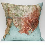 "Image of Vintage SAN FRANCISCO #2 Map Pillow, Made to Order 18""x18"" Cover"