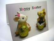 "Image of ""Happy Easter"" Card - Two Mice with Easter Eggs"