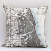"Image of Vintage CHICAGO 15"" x 15"" Map Pillow Cover"