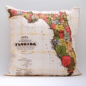 "Image of Vintage FLORIDA 18"" x 18"" Map Pillow Cover"