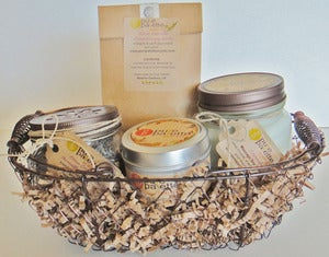 Image of Aromatherapy Spa Gift Set: Massage Soy Candle, Tin Soy Candle, Citrus Lavender Sachet, Car Freshener