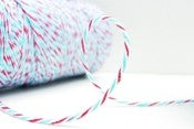 Image of New Firecraker Aqua Blue and Cherry Red Timeless Twine