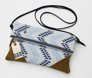 Image of --SOLD OUT-- foldover clutch in blue geometric print with a removable strap!