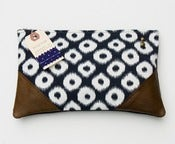 Image of --S OL D O U T--navy +white ikat dots clutch with leather corners