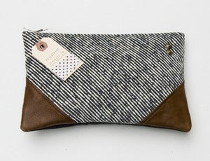 Image of -SOLD OUT- black + white diagonal stripe clutch with leather corners