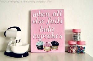 Image of when all else fails bake cupcakes mini plaque 5x7