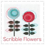 Image of Scribble Flowers - Mini Cross Stitch Kit