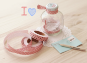 "Image of Fabric Tape dots ""rosa y blanco"""