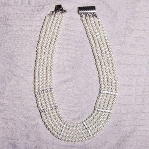 Image of Pearl and Jewel Bib Necklace